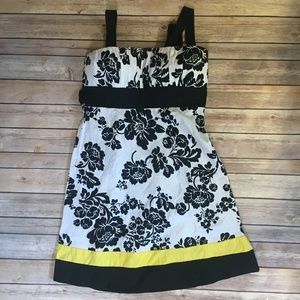Taboo Black and white floral print skirt yellow